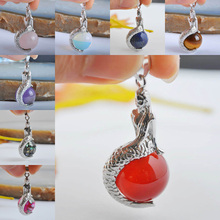 Purple Crystal/Tigereye/Rose Crystal/Opal/Carnelian/Lapis/Abalone Shell Bead Pendant Jewelry Mermaid S889-S902