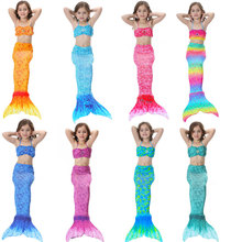 2017 Kids Girls Mermaid Tail Suit With Monofin Little Mermaid Tails Children Swimmable Swimsuit With Bikini Fancy Dress