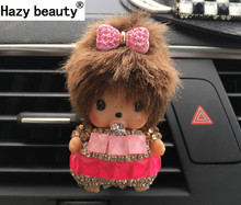 Hazy beauty Diamond automobile Outlet perfume clip Car girl Cartoon lovely air conditioning outlet perfume Car Styling(China)
