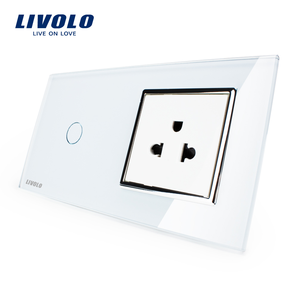 Livolo Touch Switch&amp;US Socket, White Crystal Glass Panel, 110~250V 13A US Wall Socket with Light Switch, VL-C701-11/VL-C7C1US-11<br>