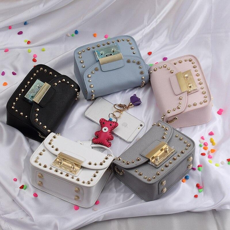 18x13CM Fashion Chain Nail Leather Handbag Shoulder Messenger Bags A2745<br><br>Aliexpress