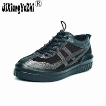 JIXIANGYAZHI brand 2018 British wind leisure gold wire sports fabric stitching leather men's shoes Oxford shoes # N-040(China)