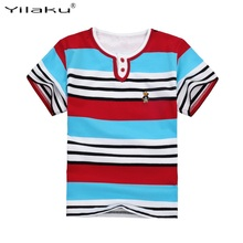 2017 Colorful Boy Striped T Shirt Fashion Infant Boy Cotton Summer T- Shirts Funny Kids T-shirts For Boys(China)