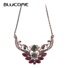 Blucome Brand Turkish Design Flower Crown Queen Necklace Thin Chain Red Resin Acrylic Pendants Vintage Party Women Lady Jewelry(China)
