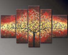 NEW 2016 200% hand-painted  Golden autumn silver rich tree  Art Decoration sitting room Oil Painting On Canvas Wall   91815801J
