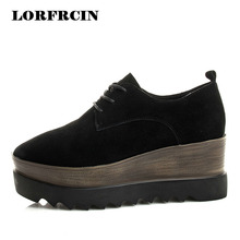 LORFRCIN Brogue Shoes Woman Genuine Leather Platform Shoes Women Creepers Size 34~39 Black Lady Derby Shoe 2017 Femmes Chaussure(China)