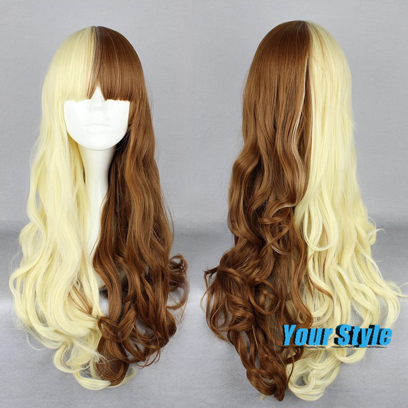 65cm Cheap Synthetic Hair Long Curl Body Wave Wig Hairstyles Womens Blond Brown Two Tones Fake Hai Lolita Anime Cosplay Wigs <br><br>Aliexpress