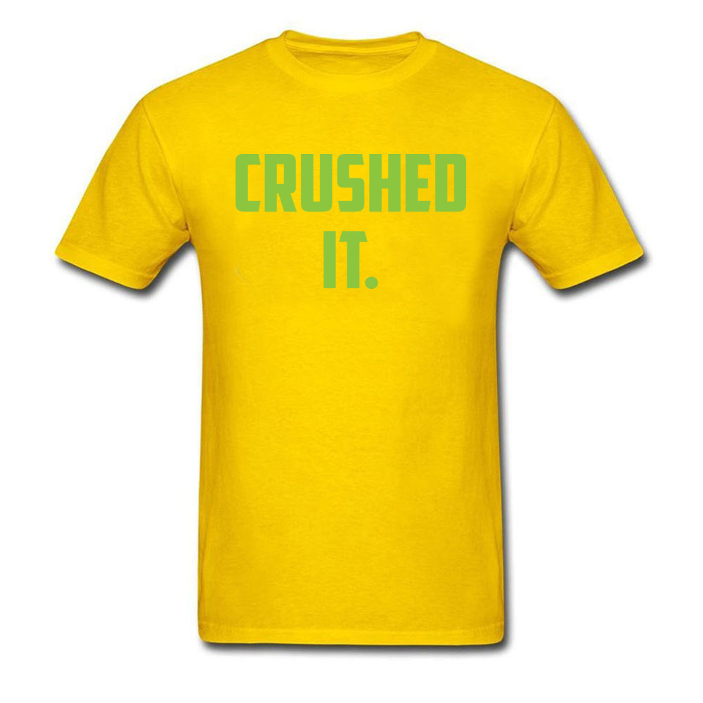 Crushed It Summer T-Shirt for Men Pure Cotton Labor Day Tops Tees Print Tee Shirt Short Sleeve Retro Round Neck Crushed It yellow