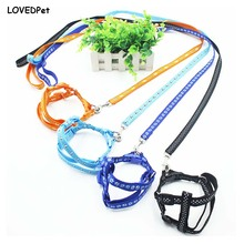 Adjustable 1CM Width Nylon Pet Dog Harness and Leash Set Puppy Cat Chest Rope Strap Leash Leads Breast-Band for Small Dogs