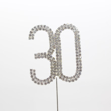 1pcs 30th Birthday Party Rhinestone Cake Topper  Wedding Decoration Silver Festival Glitter Anniversary Supplies Accessory