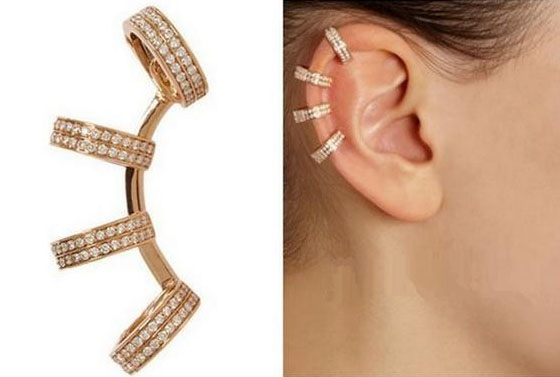 New Fashion Elegant Novelty Punk Gold / Silver Rhinestone Cocktail Non-piercing Ear Cuff Clip Earring Wholesale 10 Pcs(China (Mainland))
