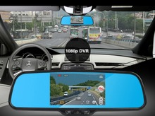 "Capacitive screen dual-lens 5"" Android 4.0 Car Rearview Mirror HD 1080P Car DVR Night vision backup camera With BT wifi USB MP5"