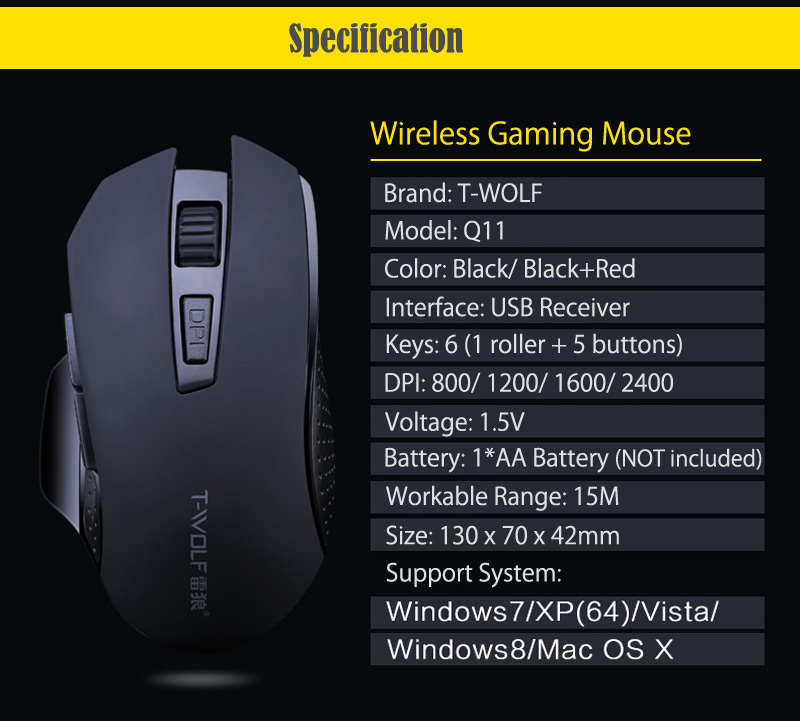 T-WOLF Q11 Mute Wireless Gaming Mouse 2400 DPI (12)