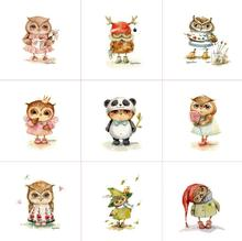 1 piece 15*15cm Owl cloth animal handmade canvas diy patchwork fabric digital printed cloth home textiles owls fabrics for sew