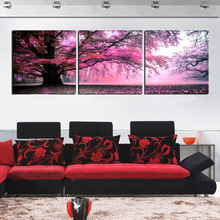 Trees Art Canvas Modern Decor Wall Painting Purple Big Tree Decorative Canvas Prints Pictures Set For Living Room Panel No Frame