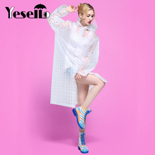 Yesello Dot Waterproof Raincoat Portable Rain Cape Poncho With Hat Hood for Women Travel Outdoor