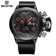 Buy SKONE Chronograph Silicone Watches Men's Watch Luxury Brand Famous Black Watch Men Sports Quartz-Watch Auto Date Relojes Hombre for $19.49 in AliExpress store