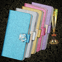 "New Fashion Luxury Glitter Diamond Flower Leather Case For Meizu M1 Note 5.5"" Blue Charm Note Wallet Stand Flip Phone Bag Cover"