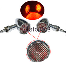 Motorcycle Mesh Grille Cover Red Lens LED Running Brake Turn Signal Bullet  Lights For Harley Yamaha Suzuki Honda 10mm Chrome