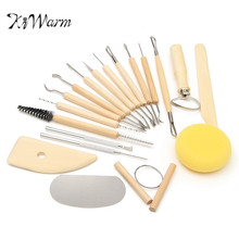 KiWarm 19Pcs/set Practical Clay Pottery Sculpture Carving Tools Set For Home DIY Mini Ceramic Carving Crafts Tools Art Sets(China)