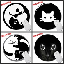 Mairuige Shop Cute Cat Eyes luxury Print Black Round Mouse Pad Non-Skid Rubber Pad for Optical/Trackball Mouse 200*200*2CM(China)