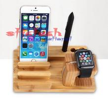 by dhl or ems 100 pieces Environmental Wooden Bamboo Bracket Docking Charger Station Phone Holder For Apple I phone Watch(China)