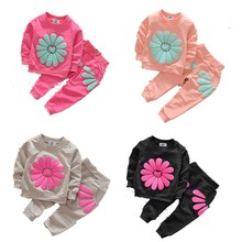 2016 Girls clothing set Spring/autumn Baby girl tracksuit Sets children clothing cotton sunflower sweatshirts/outerwear+trousers