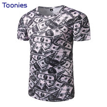 T Shirt Man Fashion Summer Short Sleeved Men's T-shirts 3D Dollar Printing Brand Tshirt Slim Fit American Tees Top New Arrival