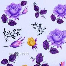 2PCS Purple Rose flower water transfer nail stickers decals for nail art tips decoration design tools M82