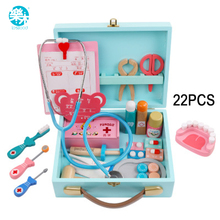 Logwood Baby toys Funny play Real Life Cosplay Doctor game Portable Medicine Box Pretend Doctor Play Set Wooden toy for Kid (China)