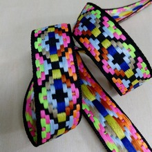 2.5cm 25mm 1' strong durable Martingale trim Dog Collar ribbon fine grid neon rhombus gradual laciness national jacquard webbing