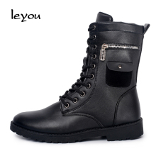 Martin Boots Men Fashion Lace Up Designer Motorcycle Boots New England Style Side Zip Leather Black Shoes Free Shipping