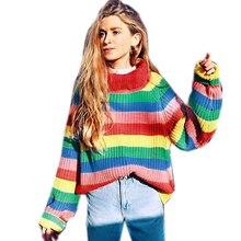 chic rainbow pullover women 2018 turtleneck women's sweater knitted pulover feminino manga longa inverno dropshipping #F#40OT5(China)