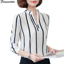 Fashion Women Blouse Shirts 2017 New Chiffon Print Striped Dot Slit Style Plus Size Office OL Long Sleeve Tops Female Clothing