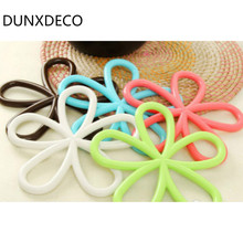 DUNXDECO 5Pcs/Set High Quality Insulation Anti-slip Flower Heat resistant mat Colorful Home Decoration Table Placemat