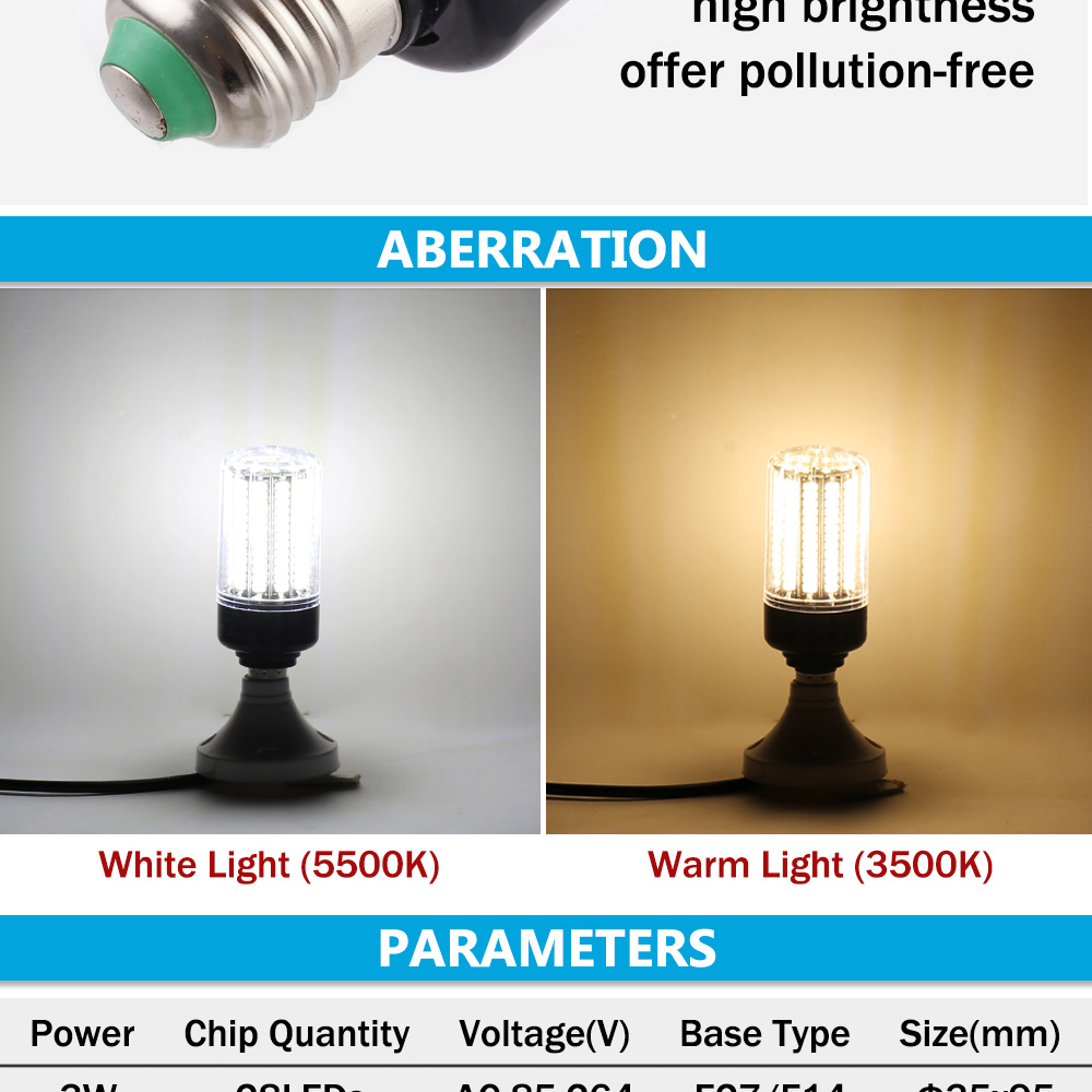 LUCKY LED Corn Bulb Light E27 E14 3W 5W 7W 9W 12W 15W No Flicker 360 degrees for Pendant Light Source AC110V 220V 5730 SMD lamp 6