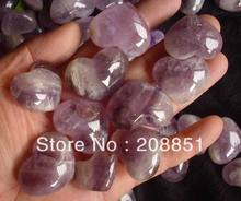 10 NATURAL PURPLE PHANTOM GHOST AMETHYST QUARTZ CRYSTAL HEARTS CARVED HEALING  Wholesales Price,Free Shipping