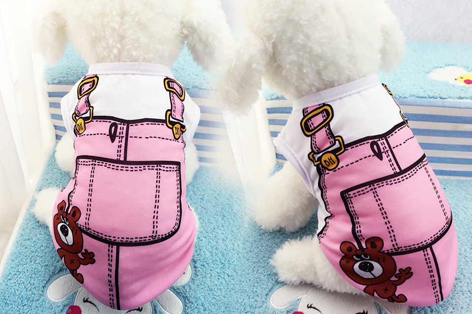 PET Cheap Dog Clothes With Free Shipping Mesh Cute Dog Vest 8 Cartoon Styles Spring Summer Dog Clothes For Small Dogs 608