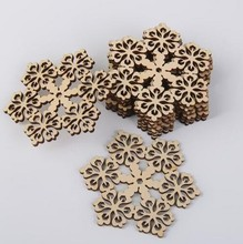 free shipping Gold supplier laser cheap wood christmas snowflake ornaments sd-044(China)