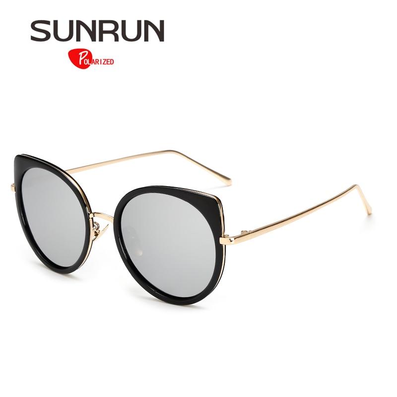 SUNRUN Women Sunglasses Polarized Cat Eye Sun Glasses for female Mirrored Metal frame Fashion Style  17054<br><br>Aliexpress