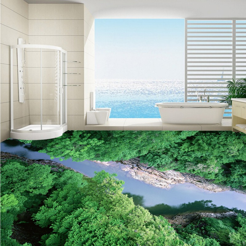 Free Shipping bedroom square flooring painting 3D Canyon Alpine forest space self-adhesive PVC floor wallpaper mural<br>