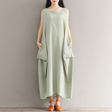 Retro Ladies Slash Neck Long Dress Maxi Dresses Women Tankdress Cotton Female Vintage Gowns Loose Design Large Size Clothings(China)
