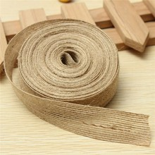 Overvalue 2.5cm x 10M Retro Natural Jute Burlap Ribbon Fabric Rustic Wedding Floristry Cake Topper Decor Handcraft DIY Material(China)