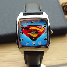 fashion superman dial child lovely cartoon quartz watch women and men super hero dial casual square leather wristwatch