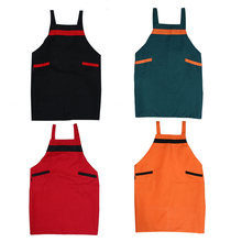 Cotton Kitchen Apron Unisex Lovely Solid Cooking Kitchen Restaurant Dining Room Barbecue Restaurant Pocket Halterneck Apron