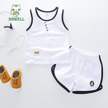 2017 Summer New style Children's clothing Baby boy cotton pure color children's Vest Shorts Set personality design kids clothes