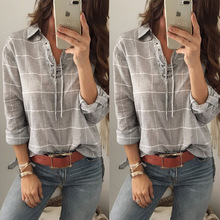 Buy Fashion women shirt 2017 autumn gray Plaid Blouse Cotton Long Sleeve Tops sexy turn-down collar bandage Irregular Female shirts for $10.98 in AliExpress store