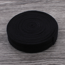 "50yards/lot 5/8"" (16mm) Black Shiny Solid Fold Over Elastic Ribbon FOE for Elastic Headbands Hair Ties Hairbow"