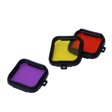 Color Polarizer Optical Filter Action Camera Diving Lens Filter Yellow Red Purple Frame Case Filter Film for GoPro 4 Session