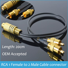 Sindax RCA Connector Pair Y Adapter RCA 1 Female to 2 Male Cable Connector 1F2M Splitter Combiner Gold(China)